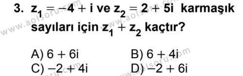 Matematik 4 Dersi 2017 - 2018 Yılı 2. Dönem Sınavı 3. Soru
