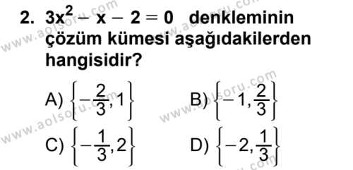Matematik 4 Dersi 2018 - 2019 Yılı 1. Dönem Sınavı 2. Soru