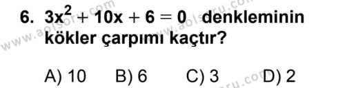 Matematik 4 Dersi 2018-2019 Yılı 1. Dönem Sınavı 6. Soru