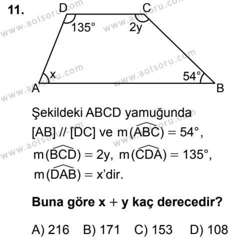 Matematik 4 Dersi 2019-2020 Yılı 1. Dönem Sınavı 11. Soru