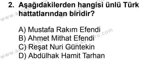 Osmanlı Türkçesi 1 Dersi 2018 - 2019 Yılı 1. Dönem Sınavı 2. Soru