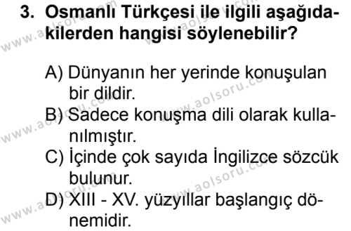 Osmanlı Türkçesi 1 Dersi 2018 - 2019 Yılı 1. Dönem Sınavı 3. Soru