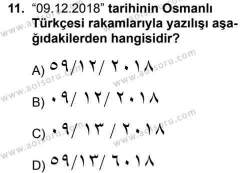 Osmanlı Türkçesi 1 Dersi 2018-2019 Yılı 1. Dönem Sınavı 11. Soru