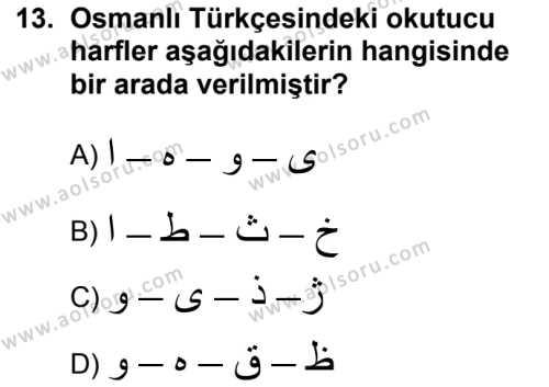 Osmanlı Türkçesi 1 Dersi 2018-2019 Yılı 1. Dönem Sınavı 13. Soru