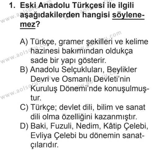Osmanlı Türkçesi 1 Dersi 2018 - 2019 Yılı 2. Dönem Sınavı 1. Soru