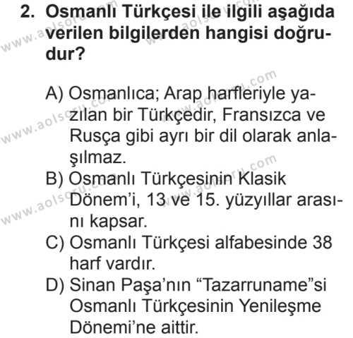 Osmanlı Türkçesi 1 Dersi 2018 - 2019 Yılı 2. Dönem Sınavı 2. Soru
