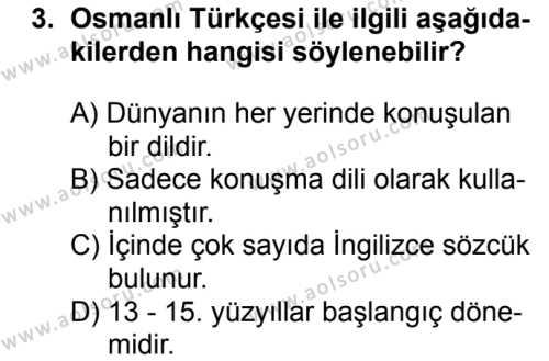 Osmanlı Türkçesi 1 Dersi 2018 - 2019 Yılı Ek Sınav Soruları 3. Soru