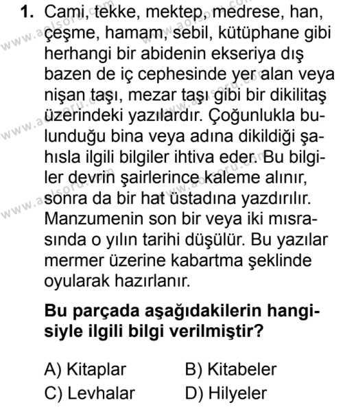 Osmanlı Türkçesi 1 Dersi 2019 - 2020 Yılı 2. Dönem Sınav Soruları 1. Soru