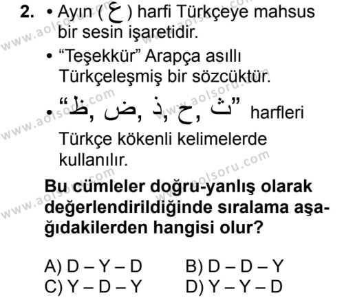 Osmanlı Türkçesi 2 Dersi 2018 - 2019 Yılı 3. Dönem Sınavı 2. Soru