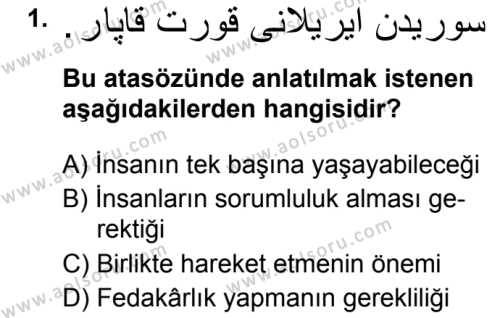 Osmanlı Türkçesi 2 Dersi 2019 - 2020 Yılı 1. Dönem Sınav Soruları 1. Soru