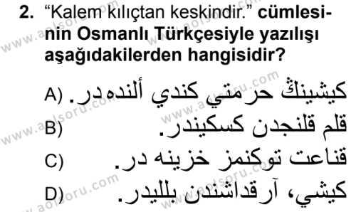 Osmanlı Türkçesi 2 Dersi 2019 - 2020 Yılı 1. Dönem Sınav Soruları 2. Soru
