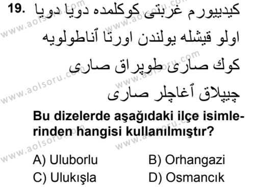 Osmanlı Türkçesi 2 Dersi 2019-2020 Yılı 1. Dönem Sınavı 19. Soru