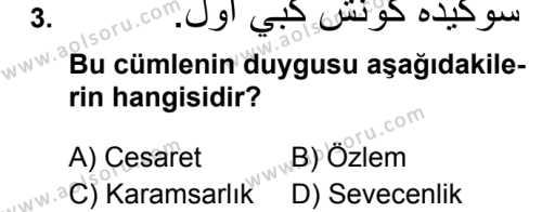 Osmanlı Türkçesi 2 Dersi 2019 - 2020 Yılı 2. Dönem Sınav Soruları 3. Soru