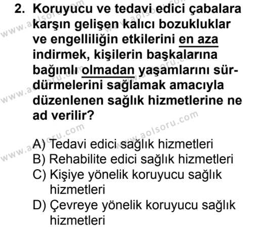 Sağlık Bilgisi ve Trafik Kültürü 1 Dersi 2018 - 2019 Yılı 1. Dönem Sınav Soruları 2. Soru