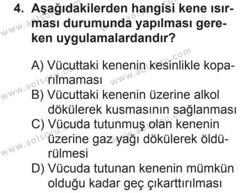 Sağlık Bilgisi ve Trafik Kültürü 1 Dersi 2018 - 2019 Yılı 2. Dönem Sınavı 4. Soru