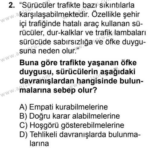Sağlık Bilgisi ve Trafik Kültürü 2 Dersi 2018 - 2019 Yılı 1. Dönem Sınav Soruları 2. Soru