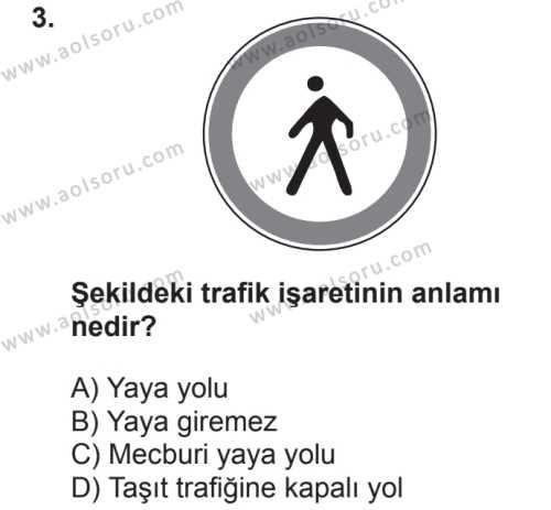 Sağlık Bilgisi ve Trafik Kültürü 2 Dersi 2018 - 2019 Yılı 2. Dönem Sınavı 3. Soru