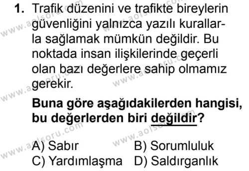 Sağlık Bilgisi ve Trafik Kültürü 2 Dersi 2018 - 2019 Yılı 3. Dönem Sınavı 1. Soru