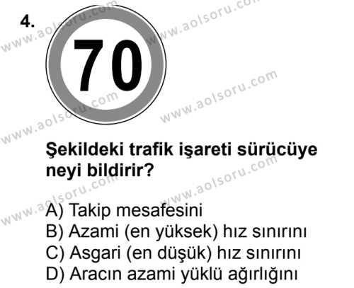 Sağlık Bilgisi ve Trafik Kültürü 2 Dersi 2018 - 2019 Yılı 3. Dönem Sınavı 4. Soru