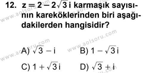 Seçmeli Matematik 1 Dersi 2011-2012 Yılı 1. Dönem Sınavı 12. Soru