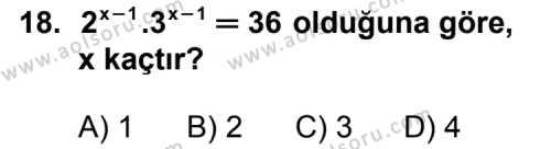 Seçmeli Matematik 1 Dersi 2011-2012 Yılı 1. Dönem Sınavı 18. Soru