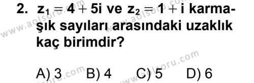Seçmeli Matematik 1 Dersi 2011 - 2012 Yılı Ek Sınav Soruları 2. Soru