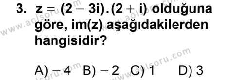 Seçmeli Matematik 1 Dersi 2011 - 2012 Yılı Ek Sınav Soruları 3. Soru