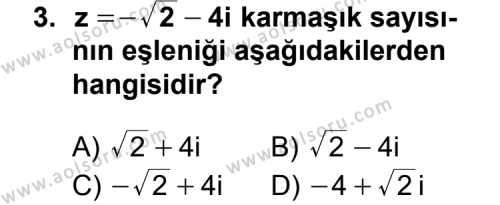 Seçmeli Matematik 1 Dersi 2012 - 2013 Yılı 2. Dönem Sınavı 3. Soru