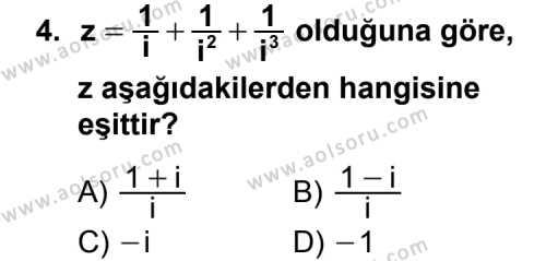Seçmeli Matematik 1 Dersi 2013-2014 Yılı 1. Dönem Sınavı 4. Soru