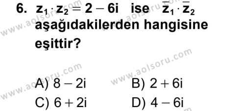 Seçmeli Matematik 1 Dersi 2014-2015 Yılı 1. Dönem Sınavı 6. Soru