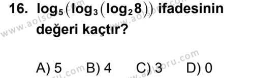 Seçmeli Matematik 1 Dersi 2014-2015 Yılı 1. Dönem Sınavı 16. Soru