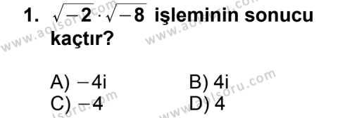 Seçmeli Matematik 1 Dersi 2014 - 2015 Yılı 2. Dönem Sınav Soruları 1. Soru