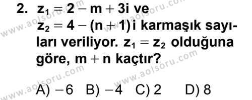 Seçmeli Matematik 1 Dersi 2014 - 2015 Yılı 2. Dönem Sınavı 2. Soru