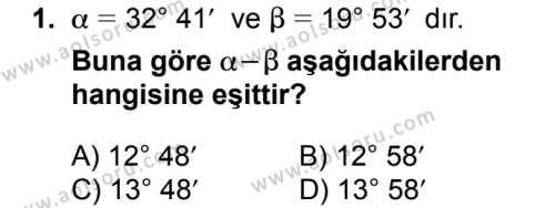 Seçmeli Matematik 1 Dersi 2018 - 2019 Yılı 1. Dönem Sınavı 1. Soru