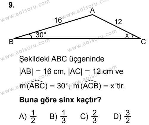 Seçmeli Matematik 1 Dersi 2018-2019 Yılı 1. Dönem Sınavı 9. Soru