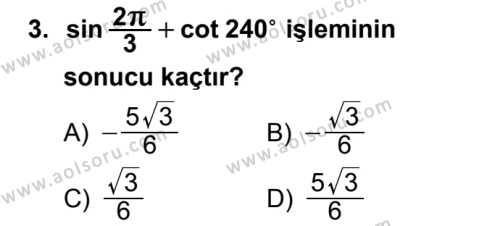 Seçmeli Matematik 1 Dersi 2018 - 2019 Yılı 3. Dönem Sınav Soruları 3. Soru