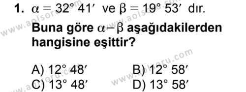 Seçmeli Matematik 1 Dersi 2018 - 2019 Yılı Ek Sınavı 1. Soru