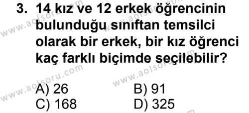 Seçmeli Matematik 2 Dersi 2011-2012 Yılı 1. Dönem Sınavı 3. Soru
