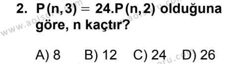 Seçmeli Matematik 2 Dersi 2011 - 2012 Yılı Ek Sınav Soruları 2. Soru