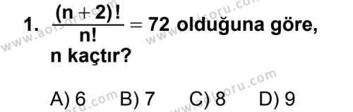 Seçmeli Matematik 2 Dersi 2012 - 2013 Yılı 2. Dönem Sınavı 1. Soru
