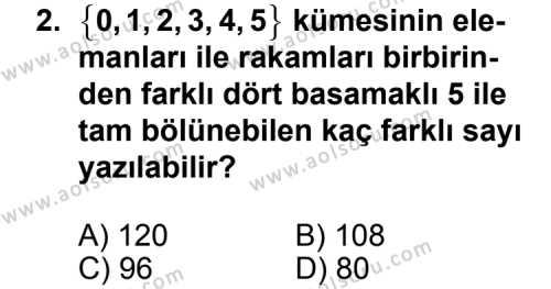Seçmeli Matematik 2 Dersi 2012 - 2013 Yılı 2. Dönem Sınavı 2. Soru