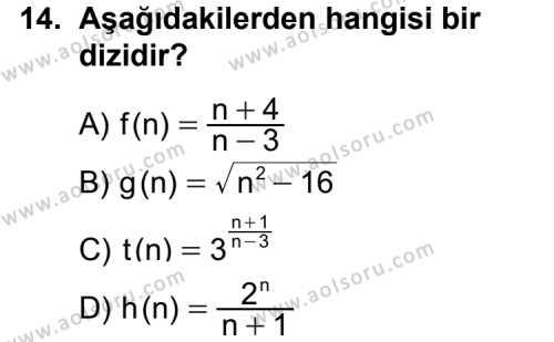 Seçmeli Matematik 2 Dersi 2014-2015 Yılı 1. Dönem Sınavı 14. Soru