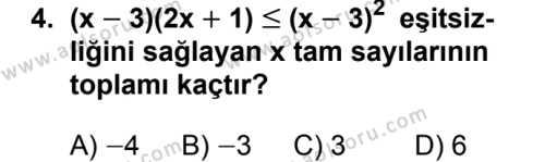 Seçmeli Matematik 2 Dersi 2018 - 2019 Yılı 3. Dönem Sınavı 4. Soru