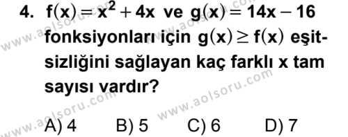 Seçmeli Matematik 2 Dersi 2018 - 2019 Yılı Ek Sınav Soruları 4. Soru