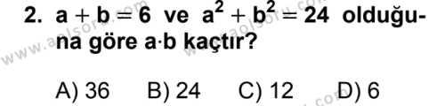 Seçmeli Matematik 2 Dersi 2019 - 2020 Yılı 1. Dönem Sınav Soruları 2. Soru