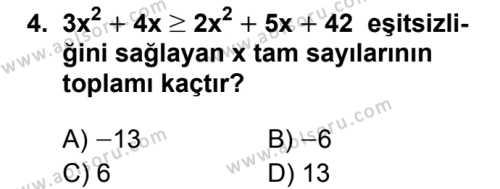 Seçmeli Matematik 2 Dersi 2019 - 2020 Yılı 1. Dönem Sınav Soruları 4. Soru