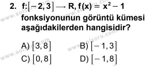 Seçmeli Matematik 3 Dersi 2011 - 2012 Yılı Ek Sınavı 2. Soru