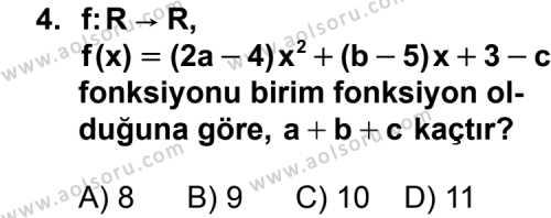 Seçmeli Matematik 3 Dersi 2011 - 2012 Yılı Ek Sınavı 4. Soru