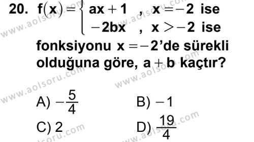 Seçmeli Matematik 3 Dersi 2012-2013 Yılı 1. Dönem Sınavı 20. Soru