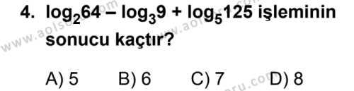 Seçmeli Matematik 3 Dersi 2018 - 2019 Yılı 3. Dönem Sınavı 4. Soru